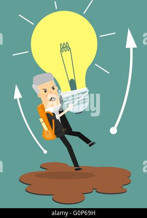 Businessman holds flying light bulb to get away from quicksand. Business concept cartoon illustration. - Stock Photo