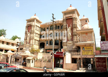 ISKCON temple Noida, Uttar Pradesh, India, magnificent temple dedicated to Lord Krishna with Golden chariot on raised - Stock Photo