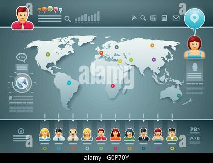 Vector world map and people infographics. Elements are layered separately in vector file. Easy editable. - Stock Photo
