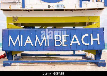 Miami Beach, Florida, USA life guard tower - Stock Photo