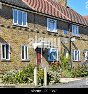 First block of brick built council houses completed by LCC on the East London Becontree housing estate 1921 as recorded - Stock Photo