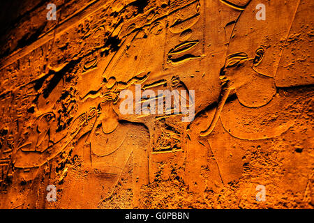 illuminated relief at Temple of Luxor, Thebes, Egypt, Africa - Stock Photo