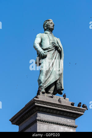 Monument of Adam Mickiewicz, Polish national romatic poet and dramatist on Main Market Square in Krakow, Poland. - Stock Photo