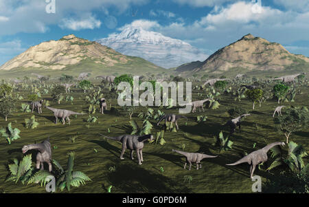 A Herd Of Camarasaurus Dinosaurs. - Stock Photo