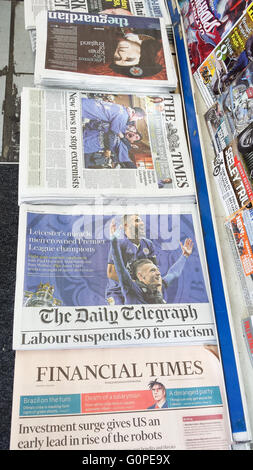 3 May 2016 - The morning newspapers front cover feature Leicester City winning the Premier League title - Stock Photo