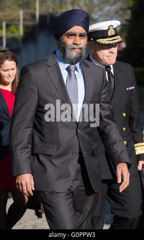 Stuttgart, Germany. 04th May, 2016. Canadian Minister of Defense Harjit Sajjan arrives to the meeting of the alliance - Stock Photo