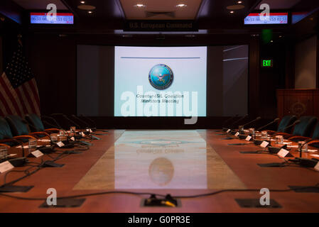 Stuttgart, Germany. 04th May, 2016. A projection can be seen in the conference room at the meeting of the alliance - Stock Photo