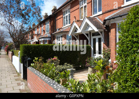 row of pretty terraced houses in sheringham, north norfolk, england - Stock Photo