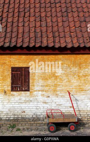 Facade in the old town of Aarhus, Denmark - Stock Photo