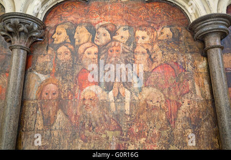 Ancient frescos on the walls of Westminster abbey in London, UK - Stock Photo