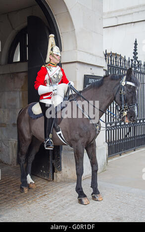 WINDSOR - APRIL 17: Unidentified man on the horse, guard protecting entrance to the Whitehall palace on April 17, - Stock Photo