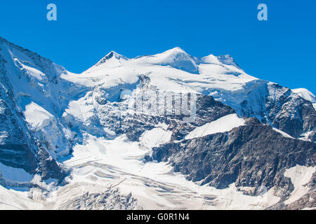 Close view of the Piz Bellavista from Diavolezza on a sunny day. It is a mountain of Bernina massiv in the Eastern - Stock Photo
