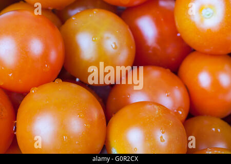 close-up view of cherry tomatoes as background - Stock Photo
