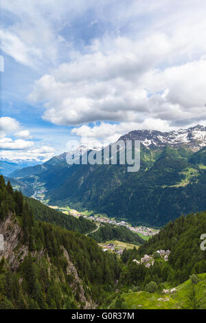 Beautiful view of the Piora Valley from top of Ritom station in Ticino, Switzerland. - Stock Photo