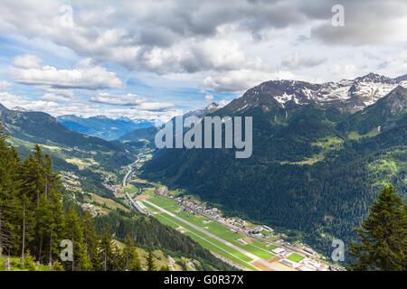 Aerial view of the Piora Valley from top of Ritom station in Ticino, Switzerland. - Stock Photo