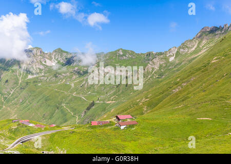 Beautiful view of the alps during the trip by steam train towards the Brienzer Rothorn, on Bernese Oberland, Switzerland. - Stock Photo