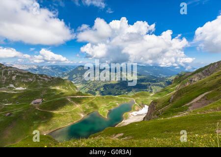 Aerial view of the Eisee (lake) near Brienzer Rothorn on Bernese Oberland, in Jungfrau region of Switzerland. - Stock Photo
