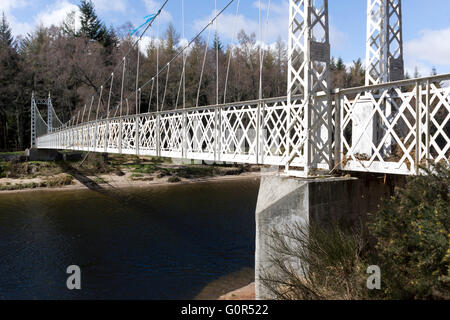 The Cambus O'May Bridge over the River Dee, between Ballater and Braemar, in Aberdeenshire, Scotland - Stock Photo
