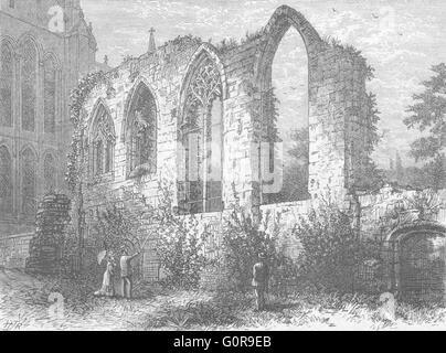 WORCS: Ruins, Guesten Hall, antique print 1898 - Stock Photo