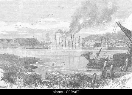 KENT: Chatham docks, antique print 1898 - Stock Photo