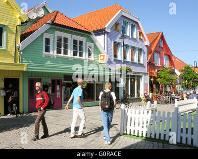 Historic houses in colour street Ovre Holmegate in city centre of Stavanger, Rogaland, Norway - Stock Photo