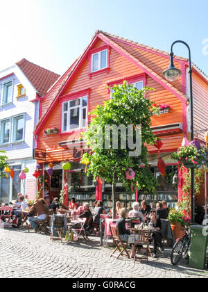 Colour street Ovre Holmegate in the city centre of Stavanger, Rogaland, Norway - Stock Photo