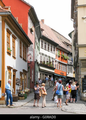 Tourists in shopping street in the city centre of Erfurt, Thuringen, Germany - Stock Photo