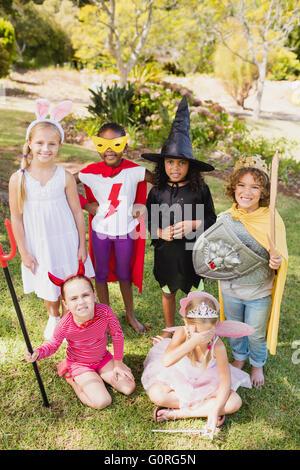 Children in costume standing - Stock Photo
