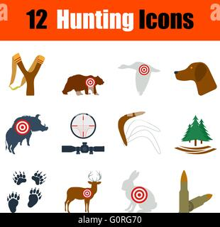 Flat design hunting icon set in ui colors. Vector illustration. - Stock Photo