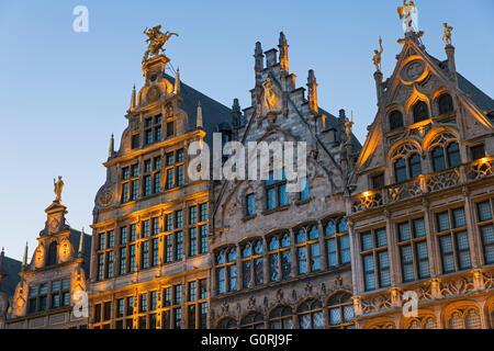Guildhouses on the Grote Markt Antwerp Belgium - Stock Photo