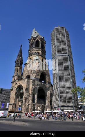 Kaiser Wilhelm Memorial Church, Breitscheidplatz, Charlottenburg, Berlin, Germany / Kaiser-Wilhelm-Gedachtniskirche, - Stock Photo
