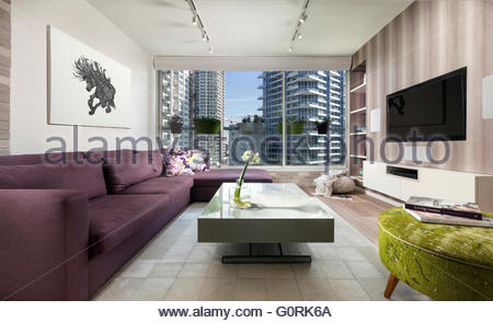 Spacious open plan living room with parquet flooring and for G plan living room furniture
