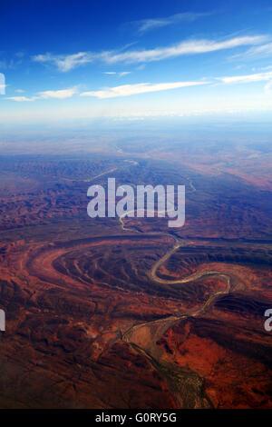Aerial view of Finke River cutting through Finke Gorge National Park, Northern Territory, Australia - Stock Photo
