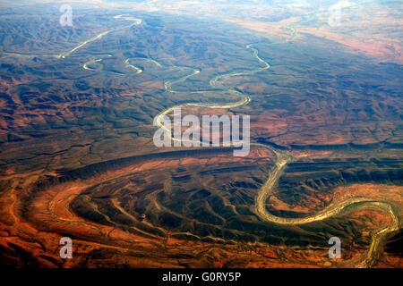 Aerial view of Finke River cutting through Finke Gorge National Park, Northern Territory, Australia - Stock Photo