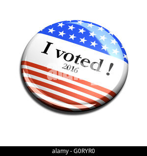 3d rendered and cut out vote button for US elections. - Stock Photo