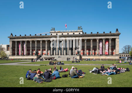 View of Altes Museum and Lustgarten on Museumsinsel ( Museum Island) in Berlin Germany - Stock Photo