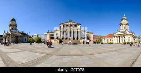 View of Gendarmenmarkt square in Mitte Berlin Germany - Stock Photo