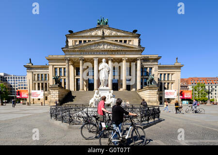 Konzerthaus and Schiller statue in Gendarmenmarkt square in Mitte Berlin Germany - Stock Photo