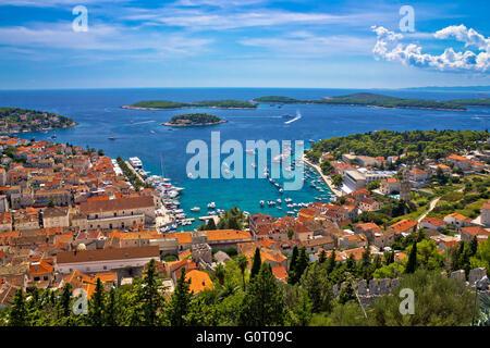 Island of Hvar bay aerial view, Dalmatia, Croatia - Stock Photo