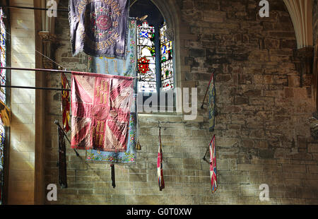 Regimental colours at  St Giles Cathedral.Edinburgh.Scotland. - Stock Photo