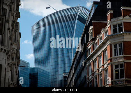City of London, London, England,UK. 19 April 2016 Walkie Talkie building correctly known as 20 Fenchurch Street - Stock Photo