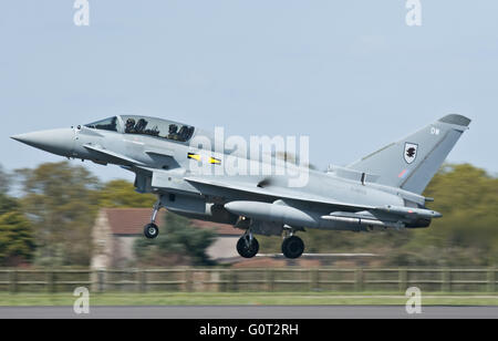RAF Eurofighter Typhoon landing at Coningsby - Stock Photo