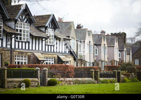 Whalley a large village in Ribble Valley on the banks of the River Calder in Lancashire.  Village houses terraced - Stock Photo