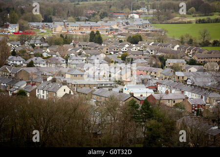 Whalley a large village in Ribble Valley on the banks of the River Calder in Lancashire.  The village from above - Stock Photo