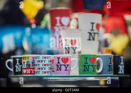 New York times Square broadway  gift i luv love ny nyc cups mugs presents displayed in gift shop window close up - Stock Photo