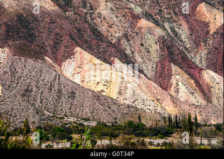 Colorful valley of Quebrada de Humahuaca, central Andes Altiplano, Argentina - Stock Photo