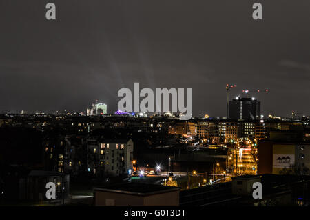 City of Berlin, capital of Germany, during the night of the 31th december 2015. Lights of the New Year's eve. - Stock Photo