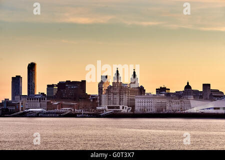 from West Float Merseyside Liverpool docks birkenhead   liverpool skyline with the Liver Building fronts over the - Stock Photo