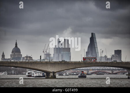 Waterloo Bridge  road and foot traffic bridge crossing the River Thames in London, between Blackfriars Bridge and - Stock Photo