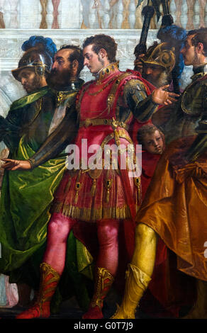 Alexander the Great (in red armour) as depicted in 'The Family of Darius before Alexander' by Paolo Veronese, c.1565 - Stock Photo